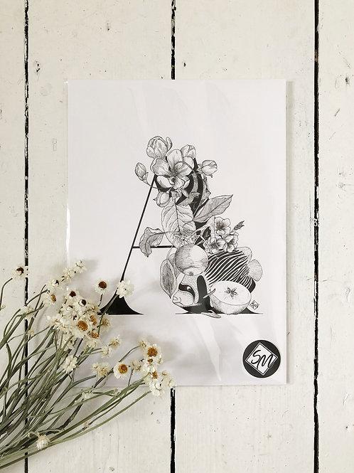 Original Art - Ink Letter A Illustration