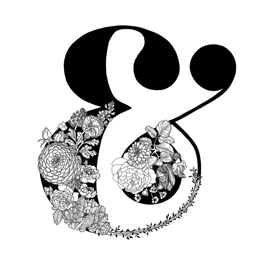 Digitally Hand Drawn Ampersand in Black - Custom Branding