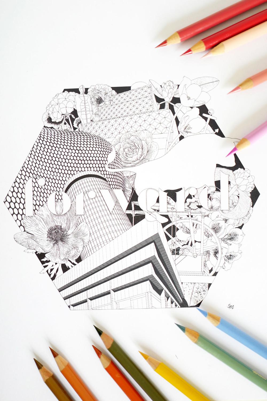 Simona Illustrates #colourinbrum Birmingham Colouring Art Print ready to colour