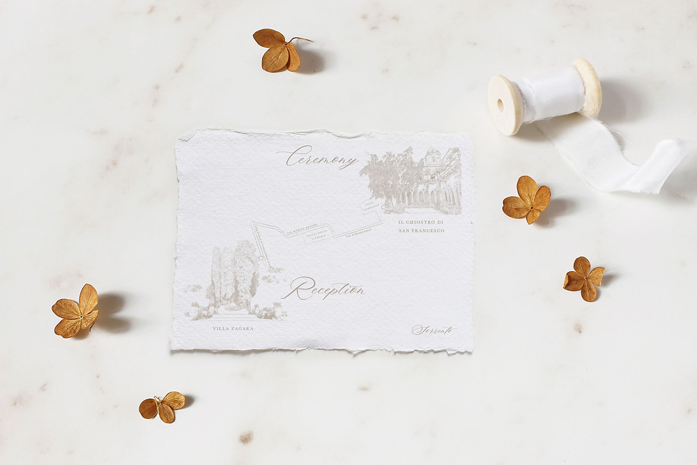 An illustrated wedding map, depicting the wedding ceremony and reception venues, printed on handmade paper. Both venues have been meticulously drawn in delicate detail.