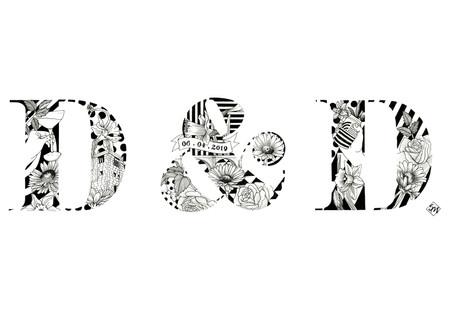 D&D Wedding Monogram Illustration