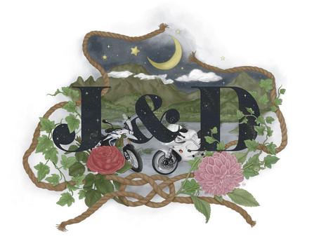 Custom Wedding Monogram Illustration in Colour