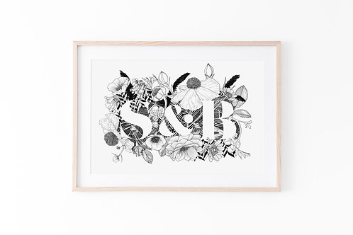 Custom Monogram Illustration - Illustration Style: Outside the Letters