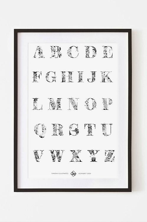 A2 Giclee Fine Art Alphabet Print