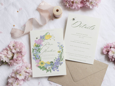 Garden Wreath Illustrated Wedding Stationery Suite