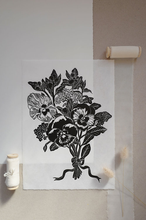 Pansy Posy Lino Print