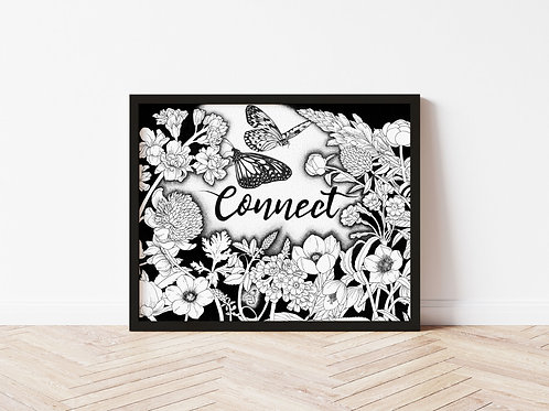 Connect - Botanical Hand Lettering Ink Illustration
