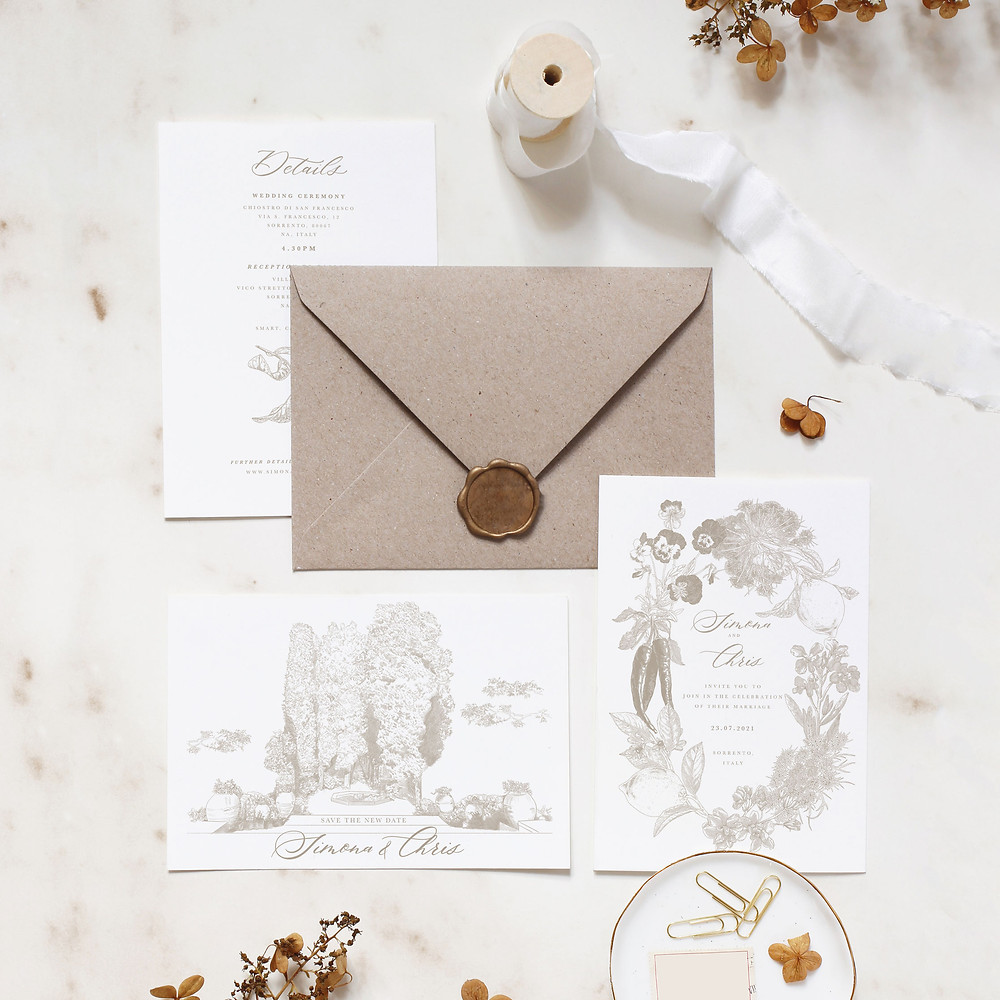 An illustrated wedding invitation, save the date and details card inspired by the wedding destination of Sorrento, Italy.