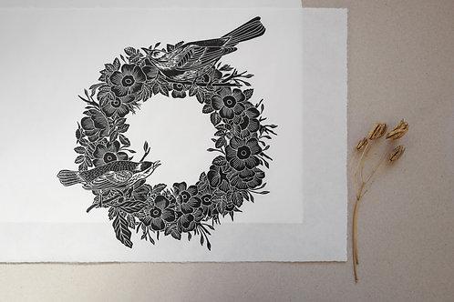Birds & Roses Wreath Lino Print
