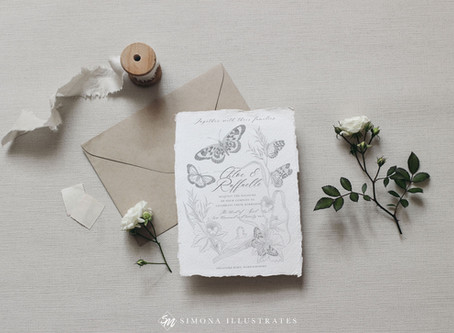Butterfly Wreath Illustrated Wedding Stationery Suite