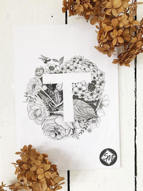 Original Art - Ink Letter T Illustration