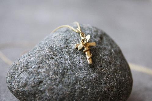 Gelbgoldkreuz mit Rose