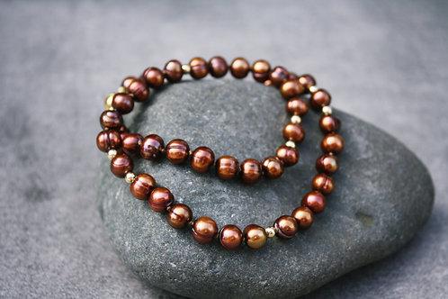 """Perlenkette """"Bronze"""""""