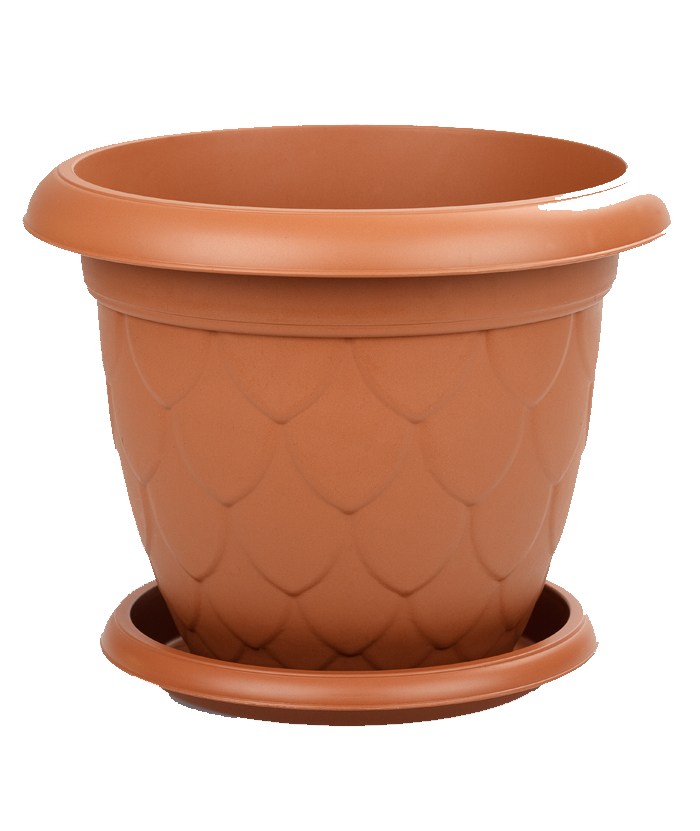 Round Brown Plastic Pot