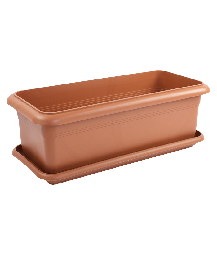 Rectangular ClassicBrown Plastic Pot
