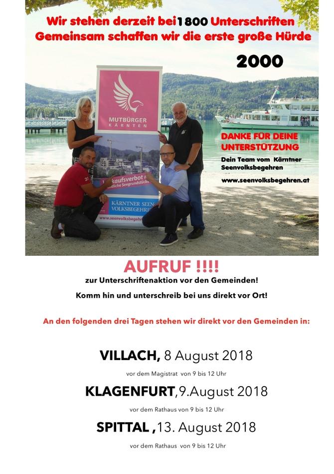 AUFRUF zur Unterschriftenaktion vor den Gemeinden!!