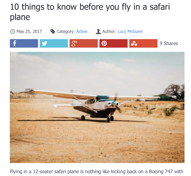 Things to know about safari planes