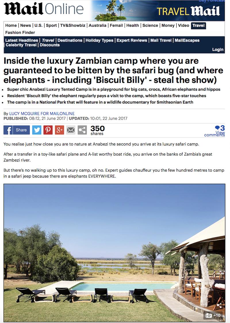 Inside Anabezi tented camp, Zambia
