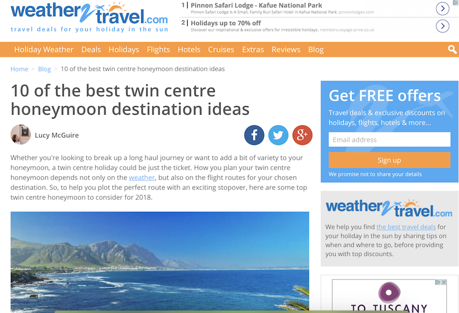 Twin-centre honeymoon ideas