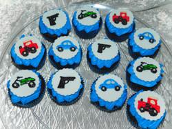 trains, cars cupcakes