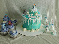 Frozen cake, cupcakes and cake pops