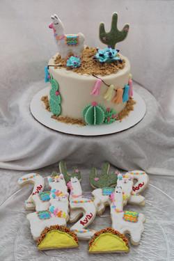 fiesta cake and cookies