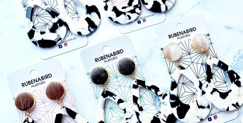 IN STOCK! 5 pairs x Ruby Teardrop Hide Cowhide Resin Statement Earrings