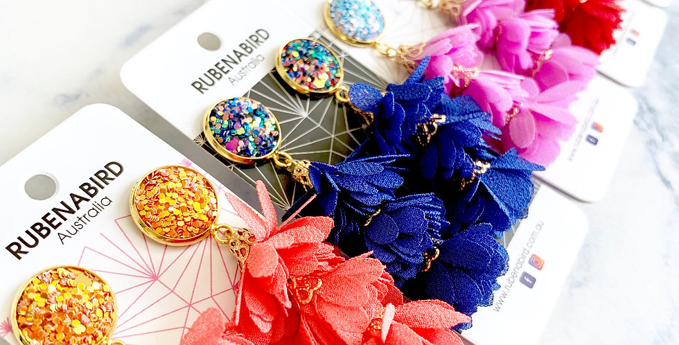 5 pairs x Olivia Glitter &  Flower Tassel Earrings