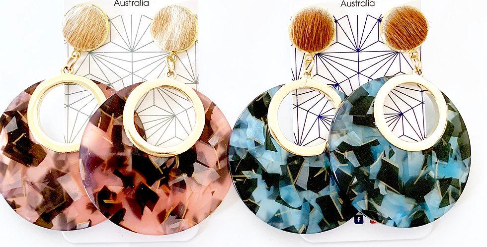 5 pairs x Kiara Hide and Resin statement earrings