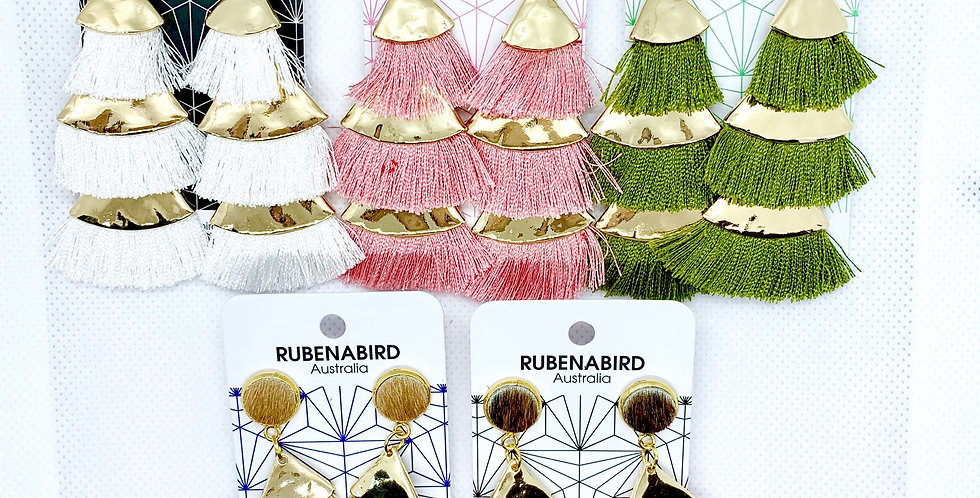 NEW! 5 pairs x Lola Hide and Tassel statement earrings
