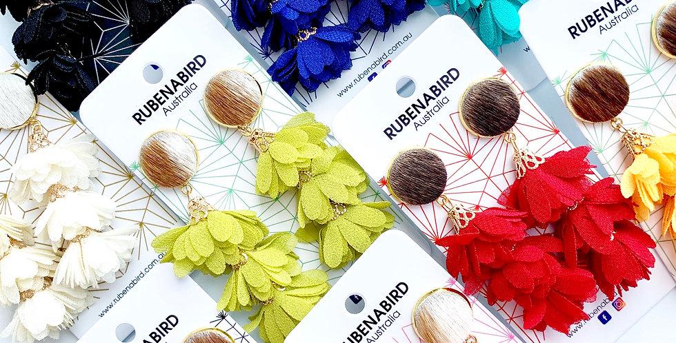 5 pairs x Olivia Hide & Flower drop earrings