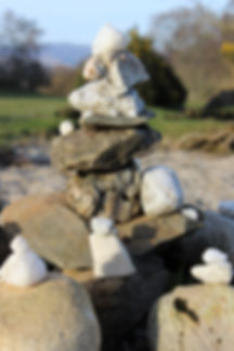 Balancing Act with Snow Quartz & River Rocks