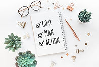 Goal,plan,action text on notepad with of