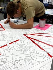 Visual Arts Students Working Hard