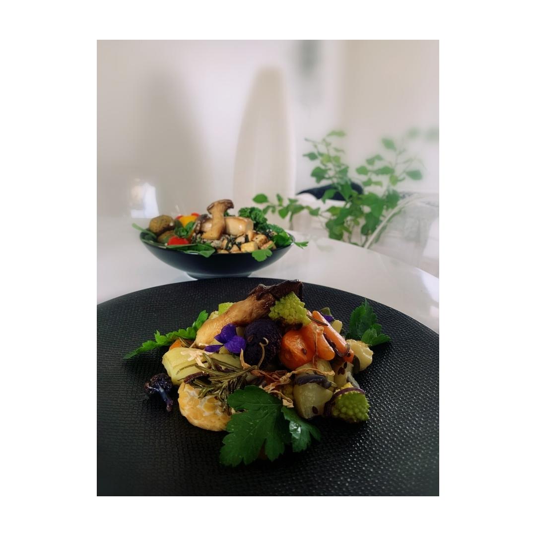 Légumes rôtis au tempeh