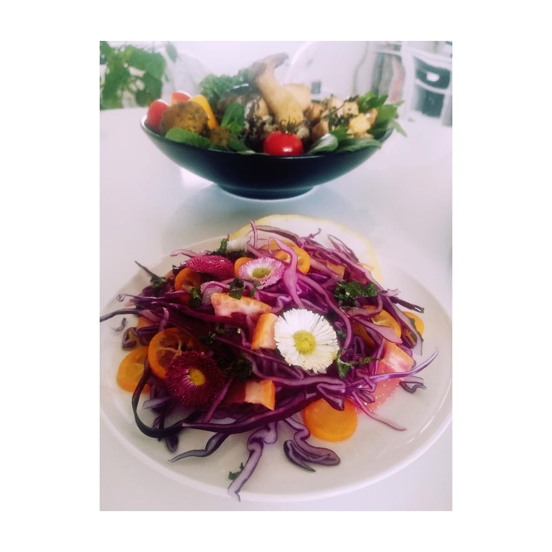 Salade de chou rouge et agrumes