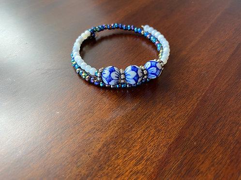 Blue Hand Painted Bead Bracelet