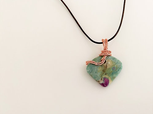 Ruby Fuchsite and Woven Copper Necklace by Jo Homar