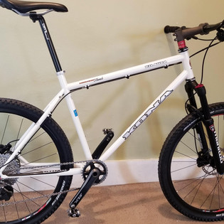 Many frame mods, removed canti brake post, added disc new, new guides, etc