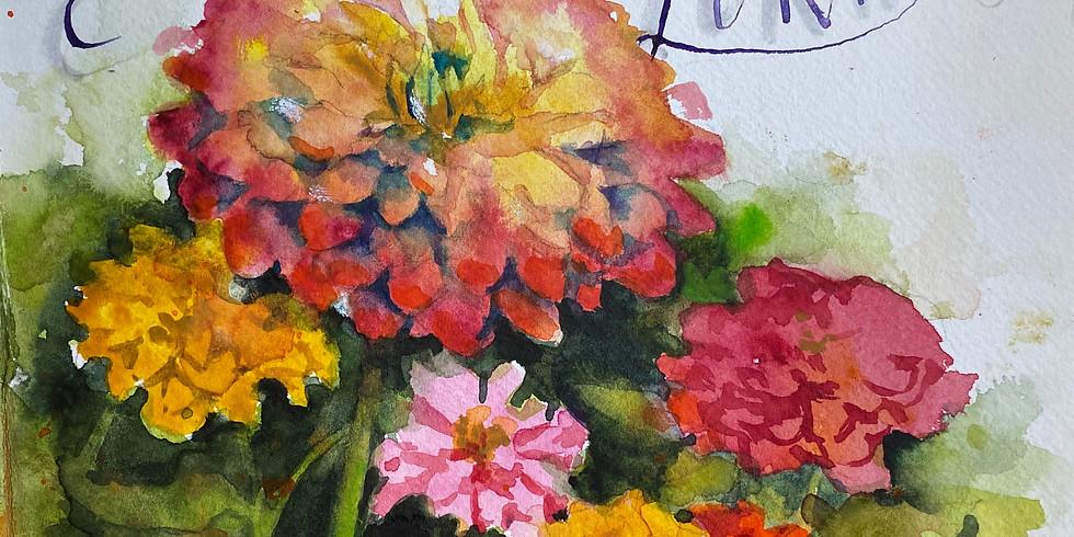 Painting The Garden (zinnias)