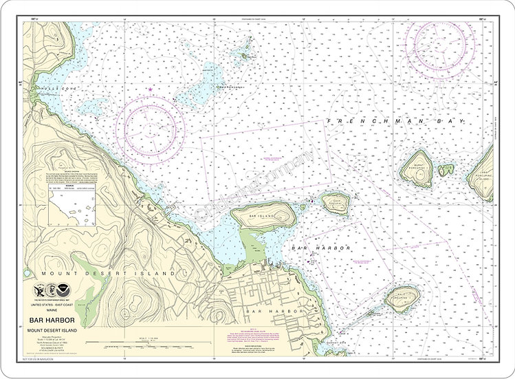 Nautical Chart 13323 'Bar Harbor Mount Desert Island' Placemat