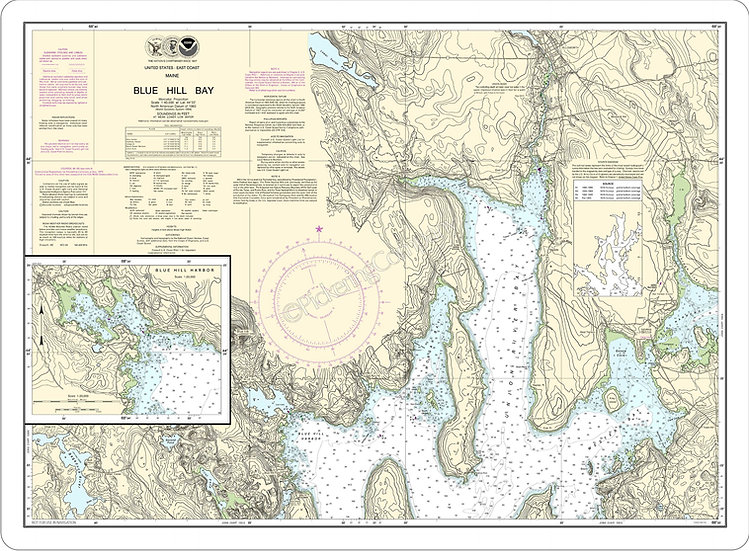 Nautical Chart 13316 'Blue Hill Bay' Placemat