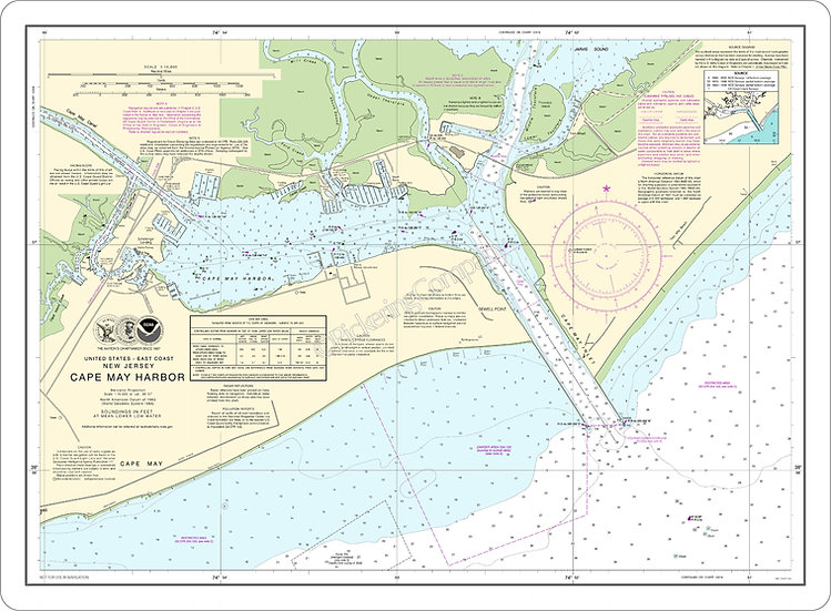 Nautical Chart 12317 'Cape May Harbor' Placemat