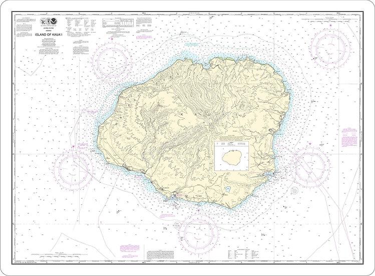 Nautical Chart 19381 'Island of Kauai' Placemat