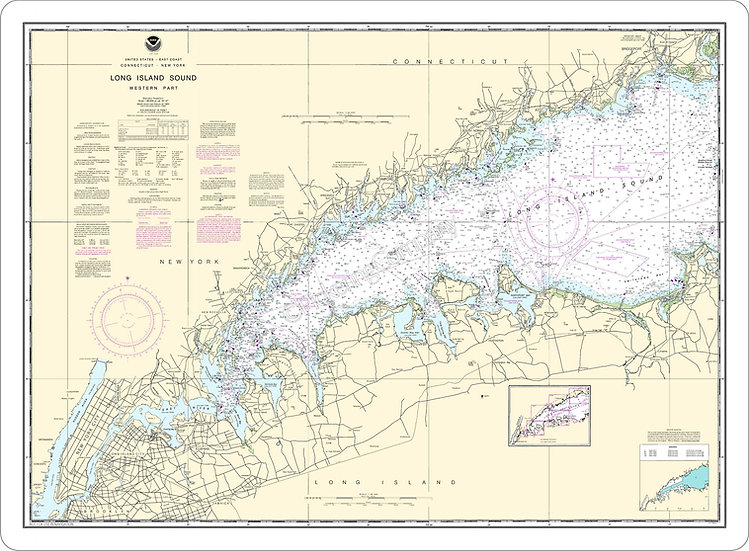 Nautical Chart 12363 'Long Island Sound Western Part' Placemat