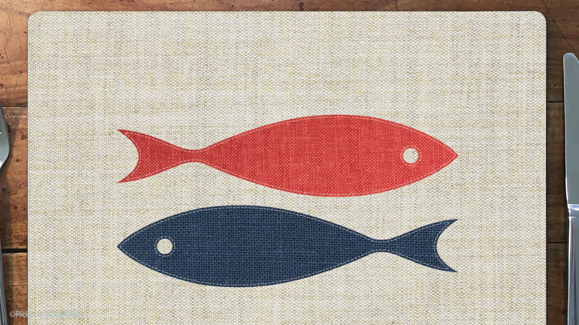 """Pickering Collection hardboard placemats - """"Two Fish"""""""