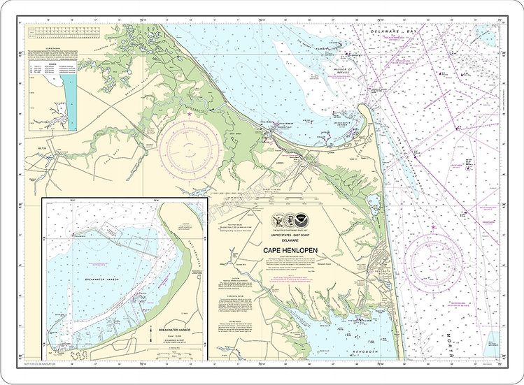 Nautical Chart 12216 'Cape Henlopen; Breakwater Harbor' Placemat