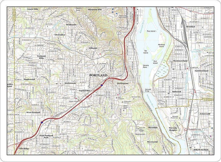 Topographic Map 'Lake Oswego, OR' Placemat