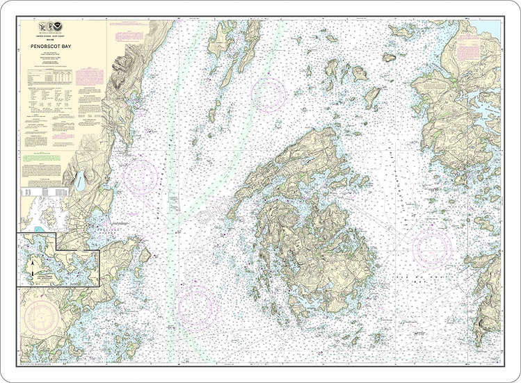 Nautical Chart 13305 'Penobscot Bay; Carvers Harbor and Approaches' Placemat