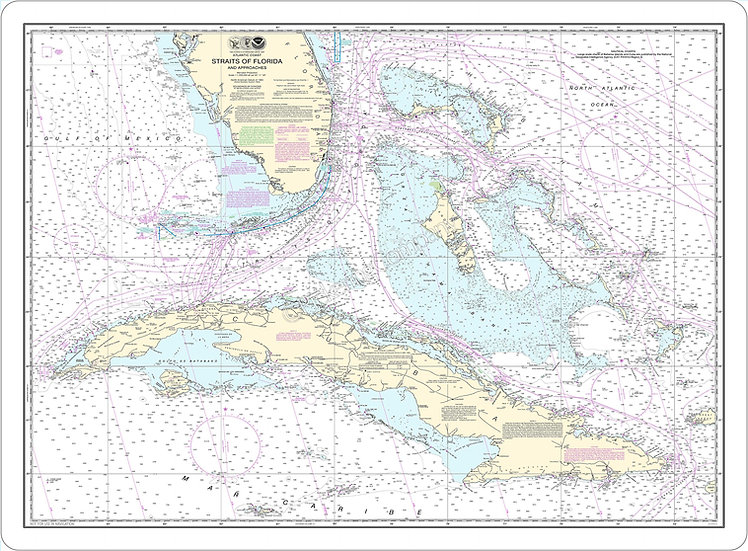 Nautical Chart 11013 'Straits of Florida and Approaches' Placemat